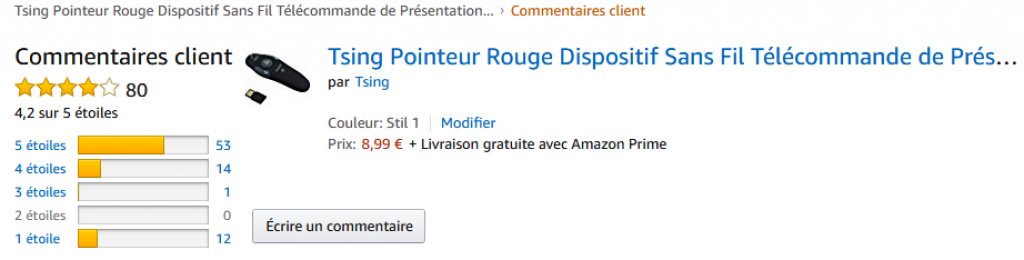 Avis Amazon Tsing pointeur rouge