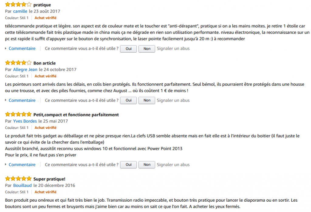 Commentaires Amazon Tsing pointeur rouge